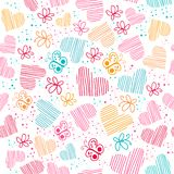 Romantic seamless pattern with hearts, and butterflies. Royalty Free Stock Images