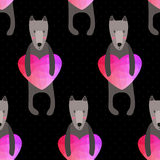 Romantic seamless pattern with hearts and dogs . background made Royalty Free Stock Photos