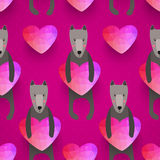Romantic seamless pattern with hearts and dogs . background made Stock Photography