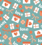 Romantic seamless pattern with hearts. Gifts. Valentines day decoration texture. Love concept. Wedding invitation Stock Photo