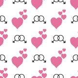Romantic seamless pattern with hearts and male female symbol. Cute print. Vector illustration. vector illustration