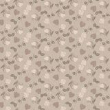 Romantic seamless pattern with hearts and roses Stock Image