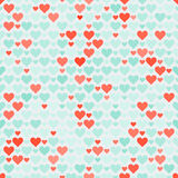 Romantic seamless pattern with hearts. Vector illustration. Background. Stock Photos