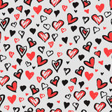 Romantic seamless pattern with hearts Stock Images