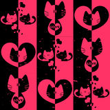 Romantic seamless pattern with kittens Stock Image