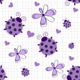 Romantic seamless pattern with ladybugs Stock Photography