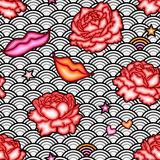 Romantic seamless pattern with lips. Royalty Free Stock Photo