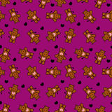 Romantic seamless pattern with little hippos Royalty Free Stock Photos