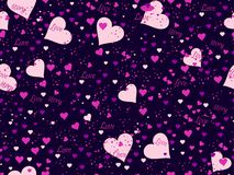 Romantic seamless pattern. Love background with hearts, berries and lips. Elements of grunge style. Vector. Illustration Royalty Free Stock Images
