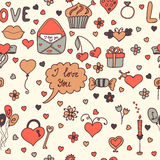 Romantic seamless pattern. Lovely background in cartoon style Stock Photos