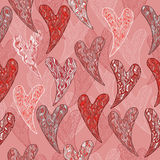 Romantic seamless pattern with pink and orange. Hearts designed in sea wave style. Great for Saint Valentine's Day cards and holiday design. Abstract background Stock Photo