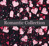 Romantic seamless pattern set. Love background with hearts, berries and lips. Elements of grunge style. Vector. Illustration Royalty Free Stock Photo