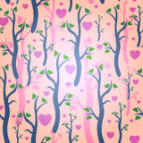 Romantic seamless pattern with trees Stock Photo