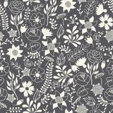 Romantic seamless pattern of various flowers in Stock Photos