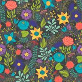 Romantic seamless pattern of various flowers in Stock Image