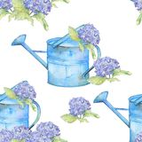 Romantic. Seamless pattern with vintage watering can and Hydrangea stock photo