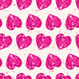 Romantic seamless pattern with watercolor hearts. Vector illustr Stock Photos