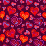 Romantic Seamless Pattern With Colorful Hand Draw Hearts. Bright Hearts On Purple Background. Vector Illustration. Stock Image