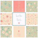 Romantic seamless patterns. Love set. Stock Photography