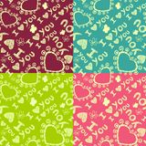 Romantic seamless patterns. Valentine's day Stock Photos