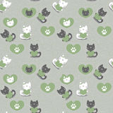 Romantic seamless patternwith kittens Royalty Free Stock Photo