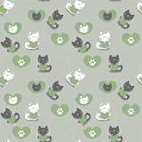 Romantic seamless patternwith kittens Royalty Free Stock Photo