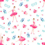 Romantic seamless vector pattern with ballerinas, keys, bows, pink diamond hearts, flowers. Forget me not small bouquets Stock Images