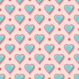 Aqua and pink heart seamless vector pattern stock illustration