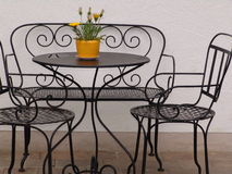 Romantic seat corner. Chairs and table Stock Photos