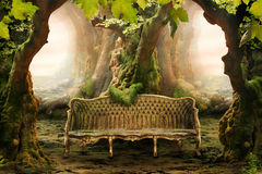Romantic seat in a deep forest Stock Photography