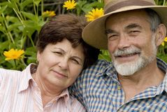 Romantic senior couple 2. Happy elderly couple embracing outdoors Stock Photography