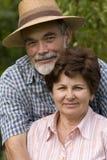 Romantic senior couple. Happy elderly couple embracing outdoors Royalty Free Stock Photography