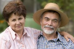 Romantic senior couple. Happy elderly couple embracing outdoors Royalty Free Stock Photos