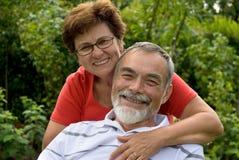 Romantic senior couple stock images