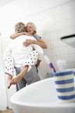 Romantic Senior Couple In Bathroom Stock Photography