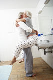 Romantic Senior Couple In Bathroom Royalty Free Stock Photography
