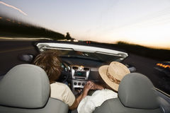 Romantic Senior Couple Driving Convertible Car Stock Image