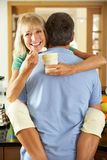 Romantic Senior Couple Eating Ice Cream Stock Photos