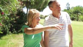 Romantic senior couple holding hands  stock footage