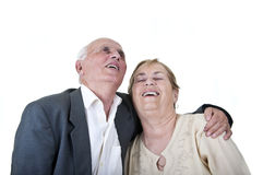 Romantic senior couple laughing Stock Photography