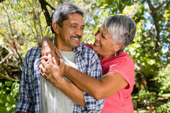 Romantic senior couple looking face to face in garden. On a sunny day Stock Images