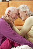 Romantic Senior Couple Relaxing At Home Royalty Free Stock Photos