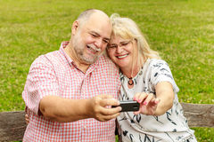 Romantic senior couple selfie Stock Photos