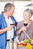 Romantic senior couple with wine glasses. While standing in kitchen Stock Images