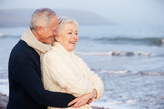 Romantic Senior Couple On Winter Beach Royalty Free Stock Photography
