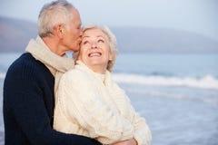 Romantic Senior Couple On Winter Beach Royalty Free Stock Photo