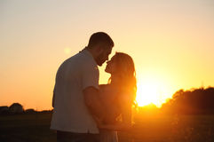 Romantic sensual young couple in love posing in field at the sun. Stunning sensual young couple in love posing in summer field at the sunset, happy lifestyle stock image