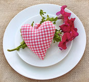 Romantic serving with heart stock photos