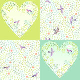 Romantic set. Birds in green branches. Set of springtime backgrounds and  patterns for Valentine's day Stock Photography