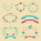 Romantic set with  colour labels ribbons  flowers eps 10 Stock Images